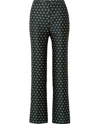 Pantaloni a campana a fiori verde scuro