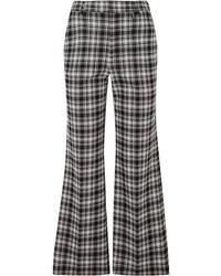Pantaloni a campana a quadri neri