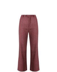 Pantaloni a campana a quadri rossi di Chloé