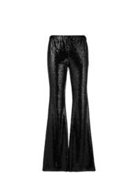 Pantaloni a campana con paillettes neri di P.A.R.O.S.H.