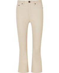 Pantaloni a campana in pelle beige di Rag & Bone