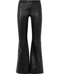 Pantaloni a campana in pelle neri di Alexander McQueen