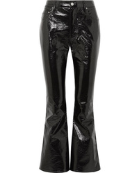 Pantaloni a campana in pelle neri di Beaufille