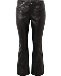 Pantaloni a campana in pelle neri di Saint Laurent