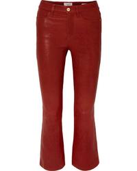 Pantaloni a campana in pelle rossi di Frame