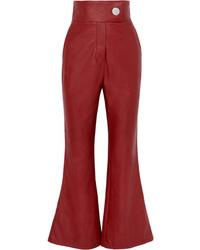 Pantaloni a campana in pelle rossi di Sara Battaglia