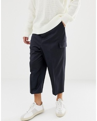 Pantaloni cargo di lana blu scuro