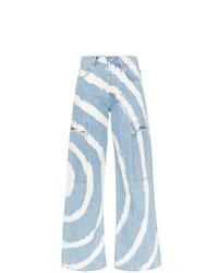 Pantaloni cargo effetto tie-dye azzurri di Ganni