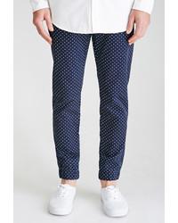 Pantaloni eleganti a pois blu scuro e bianchi