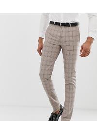 Pantaloni eleganti a quadri beige di Twisted Tailor