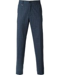 Pantaloni eleganti a quadri blu scuro