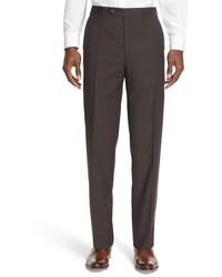 Pantaloni eleganti a quadri marroni