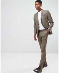 Pantaloni eleganti a quadri marroni di Selected Homme