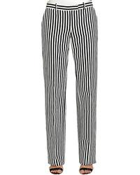 Pantaloni eleganti a righe verticali bianchi e neri