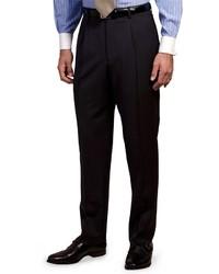 Pantaloni eleganti a righe verticali blu scuro e bianchi