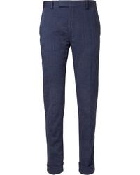 Pantaloni eleganti a righe verticali blu scuro