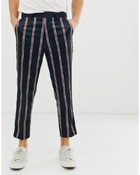 Pantaloni eleganti a righe verticali blu scuro di ASOS DESIGN