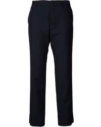 Pantaloni eleganti a righe verticali blu scuro di Jil Sander