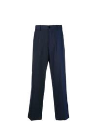Pantaloni eleganti a righe verticali blu scuro di Marni