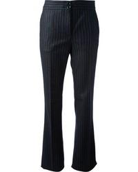 Pantaloni eleganti a righe verticali blu scuro di Moschino