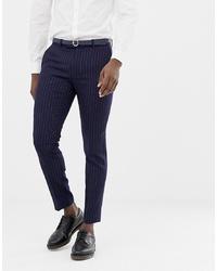 Pantaloni eleganti a righe verticali blu scuro di MOSS BROS