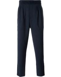 Pantaloni eleganti a righe verticali blu scuro di Paolo Pecora