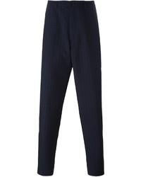 Pantaloni eleganti a righe verticali blu scuro di Raf Simons