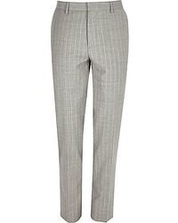 Pantaloni eleganti a righe verticali grigi