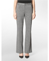 Pantaloni eleganti con motivo pied de poule grigi
