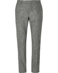 Pantaloni eleganti con motivo pied de poule neri e bianchi