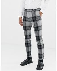 Pantaloni eleganti di lana a quadri grigi di Twisted Tailor