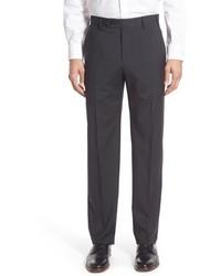 Pantaloni eleganti di lana a quadri grigio scuro
