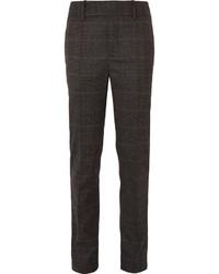 Pantaloni eleganti di lana a quadri marrone scuro