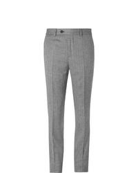 Pantaloni eleganti di lana a spina di pesce grigi di Brunello Cucinelli