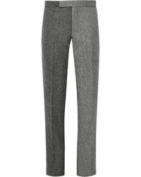 Pantaloni eleganti di lana a spina di pesce grigio scuro