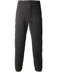 Pantaloni eleganti di lana a spina di pesce grigio scuro di Engineered Garments