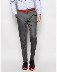 Pantaloni eleganti di lana a spina di pesce grigio scuro di Farah