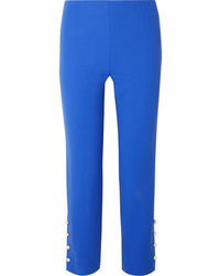 Pantaloni eleganti di lana decorati blu di Lela Rose