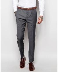 Pantaloni eleganti di lana grigio scuro di Asos