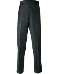 Pantaloni eleganti di lana grigio scuro di Thom Browne