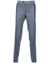 Pantaloni eleganti di lana scozzesi grigi di Moschino