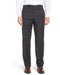Pantaloni eleganti di lana scozzesi grigio scuro