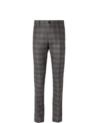 Pantaloni eleganti di lana scozzesi grigio scuro di Etro