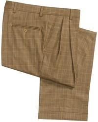 Pantaloni eleganti di lana scozzesi marroni
