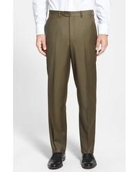 Pantaloni eleganti di lana verde oliva