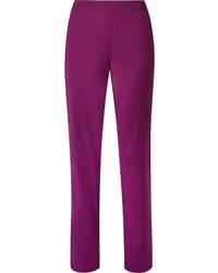 Pantaloni eleganti di lana viola melanzana di Derek Lam