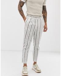 Pantaloni eleganti di lino a righe verticali bianchi di ASOS DESIGN