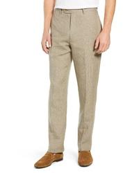 Pantaloni eleganti di lino marrone chiaro