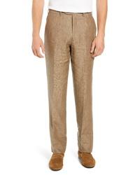 Pantaloni eleganti di lino marroni