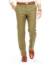 Pantaloni eleganti di lino verde oliva